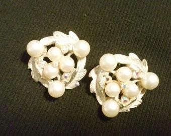Vintage BSK Pearl and Rhinestone Earrings