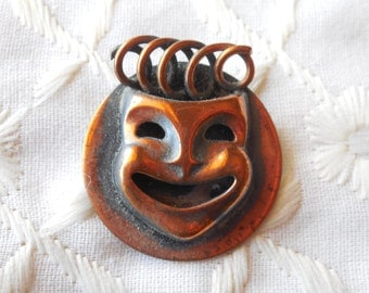 Unique Copper Mask Brooch