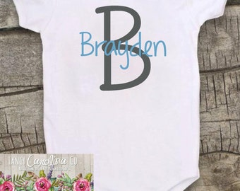 Personalized Baby Bodysuit- Baby Shower Gift - Boy Bodysuit- Custom Bodysuit- Monogrammed Bodysuit- Name Bodysuit