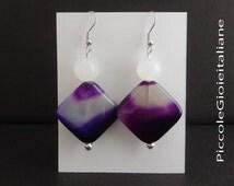Modern purple Agate and pearl earrings, Opal. Trendy earrings. Handmade earrings. Original earrings. Purple earrings.
