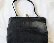 Mappin & Webb Black Lizard Skin Handbag