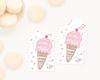 Ice Cream Party Favor Tags, Thank you Tags, Printable Thank you Tags, Printable Favor Tags, Ice Cream favor tag printable, invitation 1st