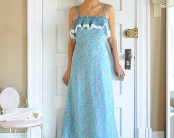 Vintage Nadine Blue Floral Lace Ruffle Long Dress, Made in USA, Size Small - Medium / ITEM621