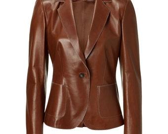 Women's brown leather blazer