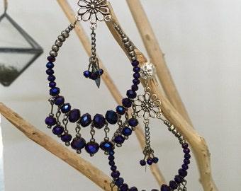 Hoop Earring Purple Amethyst Faceted Glass