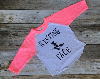 Resting Witch Face Tee. Sassy girl shirt. Toddler girl shirt. Funny girls shirt. Raglan Baseball tee.