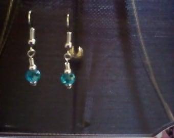 Silver-tone & Blue Dangle Earrings