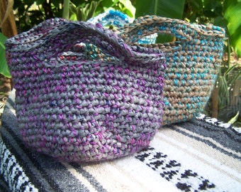 Recycled Plastic Bags Crochet Charming Tote handmade with Plarn & Yarn