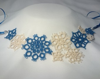 Tatted floral necklace - handmade