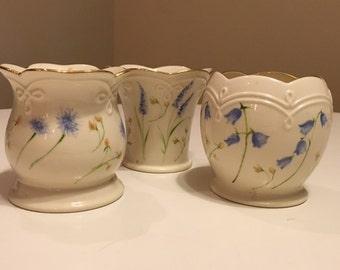 Set of Three Classic Lenox Floral Votives or Bud Vases