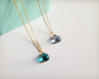 Crystal necklace, Quartz necklace, Blue quartz Necklace, Gemstone Necklace, Faceted quartz, Bridesmaid necklace