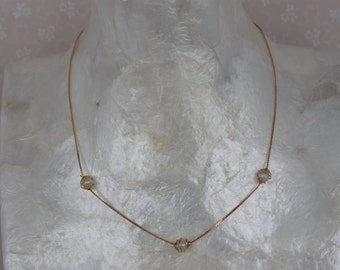 Simple Chain Necklace - Wire Wrapped Faux Pearl Necklace - Short Vintage Necklace