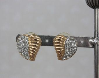 Vintage Heart Earrings, Stylised Heart Earrings, Large Stud Earrings, Vintage Gold Plated Earrings, Vintage Rhinestone Earrings