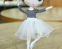 Doll clothes for MeoMun doll, ballerina dress, ballet dress, dress up doll, white dress, doll's dress