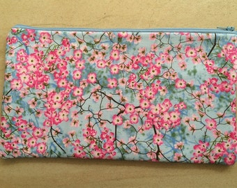 Pink and blue flowers pencil case