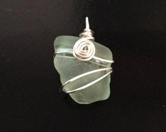 Wire Wrapped Sea Glass Pendant in Sea Foam Green
