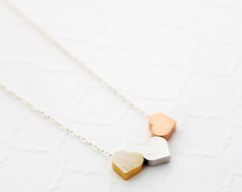 Three Best Friends Gift, Three Best Friends Necklace, Three Friends Necklace, Friendship Necklace, Dainty Hearts Necklace, Gift for Friend