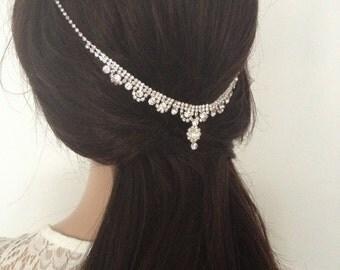 Glamour Crystal Bridal Headdress. Wedding Headpice. Rhinestone Hair Accessory.