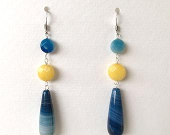 drop drop earrings in blue agate and yellow jade