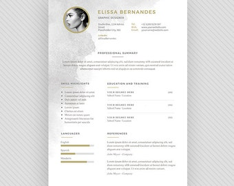3 page Resume Template / CV Template + Cover Letter for MS Word and Photoshop | Instant Digital Download