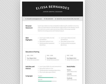 "Resume Template / CV Template + Cover Letter for MS Word and Photoshop | Instant Digital Download - ""Sirius"""