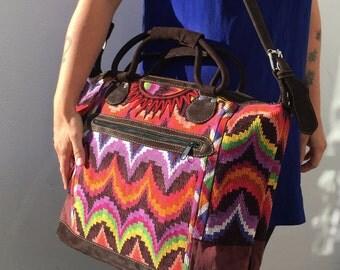 Incredible Handmade Guatemalan Oversize Handbag Purse Weekend Bag Handwoven Huipil