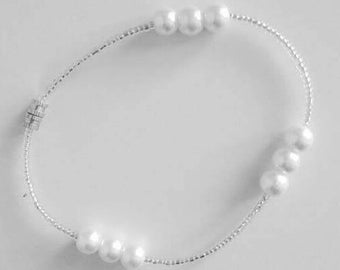 White Pearls Beaded Anklet