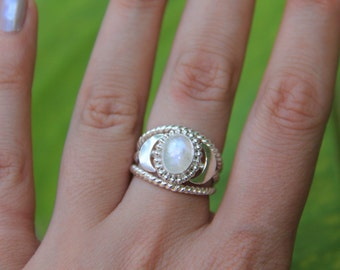 Celestial Ring; Moonstone ring, Sterling Silver ring, 925, Sunsara Jewellery, Statement Ring