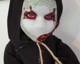 Ooak creepy handpainted altered porcelain doll