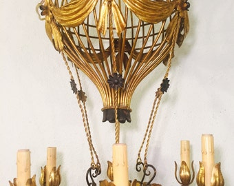 French Hot Air Balloon Chandelier