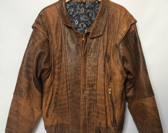 Vintage Brown Leather Jacket with removable sleeves
