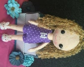Handmade Blonde Curly Haired Felt Bedtime Doll in Purple Star Pajamas with White Bunny Slippers