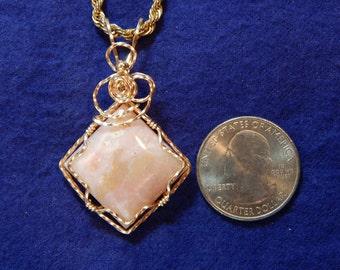Idaho Pink Ice Cream Opal, Small Diamond Shaped wire wrapped in gold filled wire, Idaho Opal