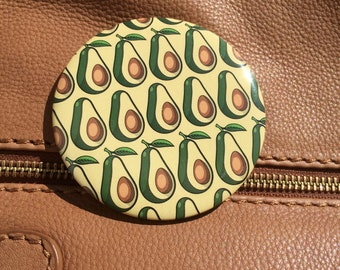 Avocado Design Pocket Mirror, Button Badge Compact Mirror 77mm diameter with velvet pouch for carrying in your bag, handbag.