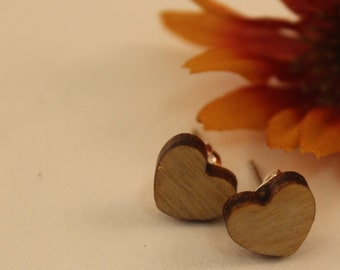 Baltic birch wooden heart earrings