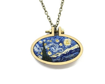 Starry Night// Vincent Van Gogh Miniature Embroidery// Pendant Necklace