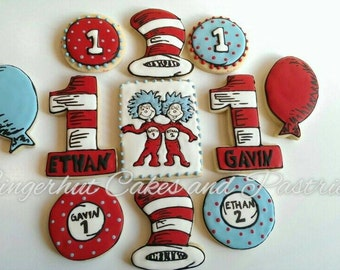 Dr. Seuss 1st Birthday Cookies/twins/Thing 1 and 2