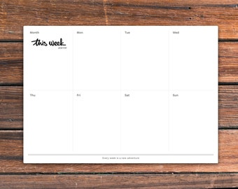 Printable weekly desk planner— This Week Planner. PDF isavailable inA4, A5 andUS letter size. Instant download