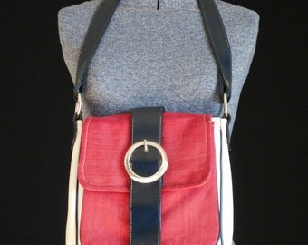 1960's Mod Satchel Unique Bag Red White and Blue! Flap Front Crossbody Design