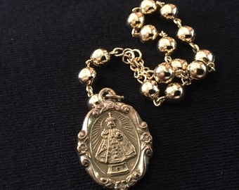 Vintage chaplet of the Infant Jesus, 12 bead rosary, gold beads
