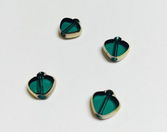 Vintage German Gold Edged Glass Spade Beads in Emerald - 4 Pieces - #531