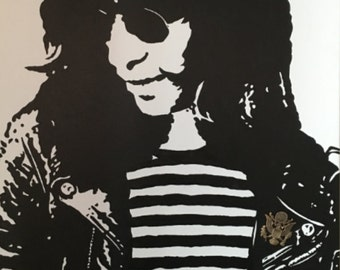 Joey Ramone 24x36 painting with actual military pin