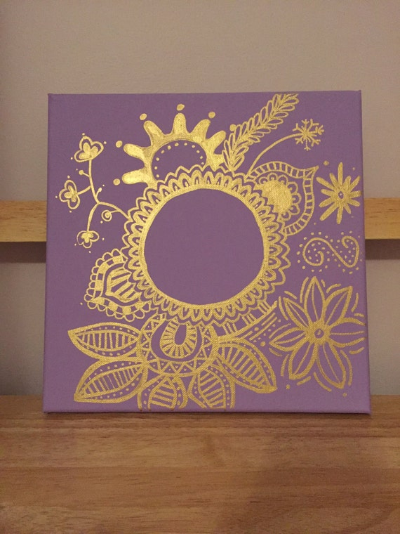 Customized Lilac/Gold Floral Canvas