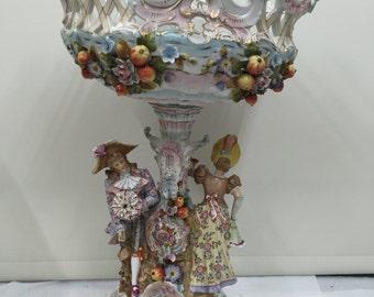 Large Volkdstet Porcelain Figural Comport circa 1865 ref 2075
