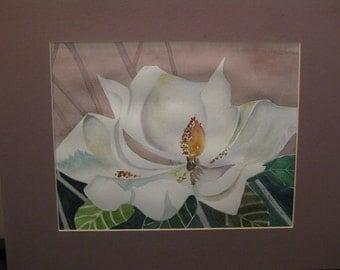 16x20 Watercolor Gardenia, original, matted, optional