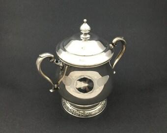 International Silver Plate Sugar Bowl Lidded Vintage Serving Bowl - Camille Pattern