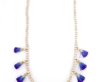 Chelsea Ombre Tassel Necklace - Sapphire Blue