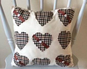 Heart applique cushion