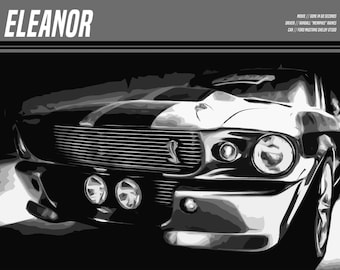 Eleanor Poster - Ford Mustang Shelby GT500 - Gone in 60 Seconds - Custom Movies Posters - Angelina Jolie, Nicolas Cage, Sports Car Posters