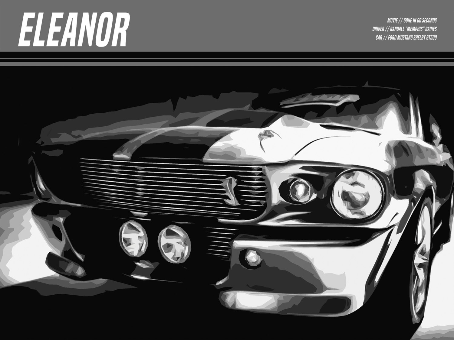 Eleanor Poster Ford Mustang Shelby Gt500 Gone In 60